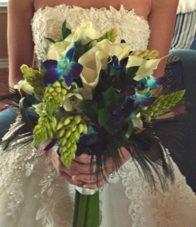 Peacock Bridal Bouquet Share Elegant Bridal Bouquet using white callas