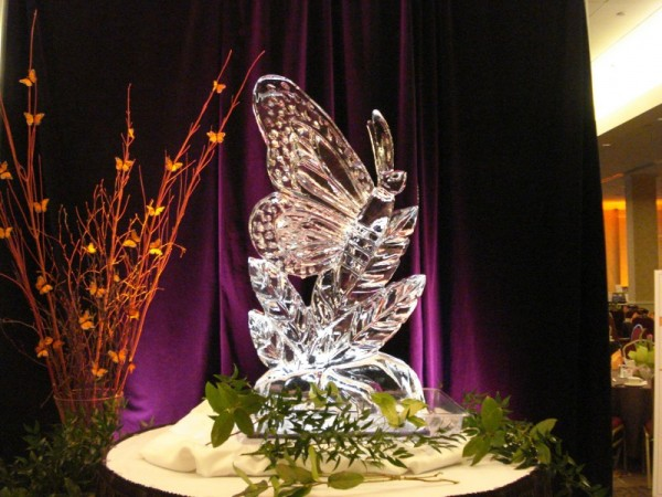 Large Monarch Butterfly Ice Sculpture