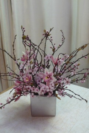 Blooming Love centerpiece Share Cherry Blossom with pink cymbidium orchids