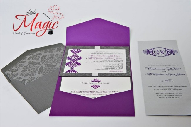 This gorgeous wedding invitation features a pocket fold with purple and gray