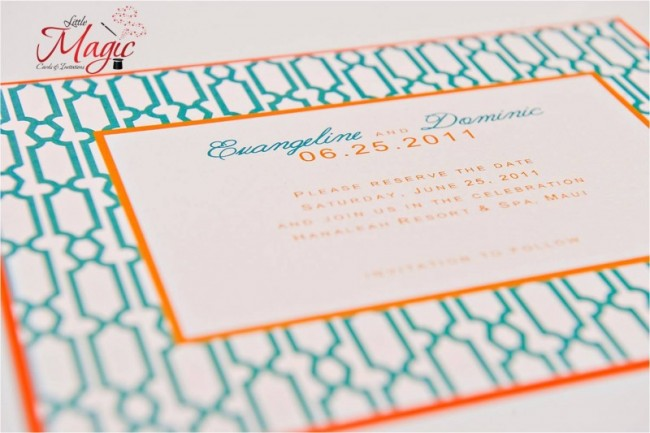 A Beautiful Wedding Invitation That Features Teal And Orange As Their Colors