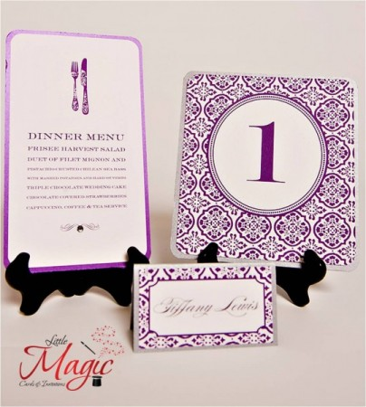 Purple Wedding Stationery Share This beautiful menu place settings and
