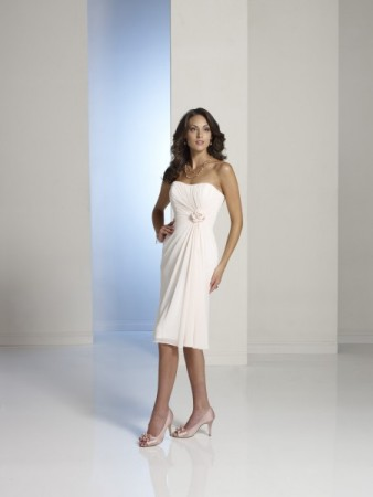 White Strapless Bridesmaid Dress