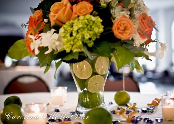 Wedding Party Photo Gallery Lime Table Scape Centerpiece