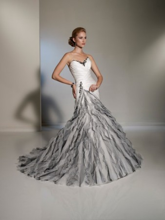 Photo gallery photo of silver white wedding gown for Black and grey wedding dress