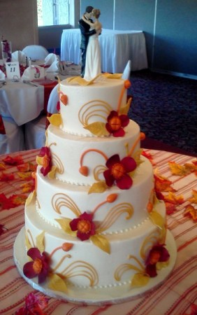 Red Gold Fall Flower and Bud Wedding Cake Share