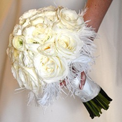 Ivory Wedding Bouquet With Feathers