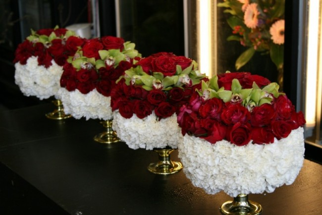 Red and white flower centerpieces memes