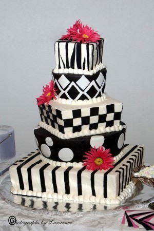 This funky wedding cake is five tiers of fun Black and white buttercream