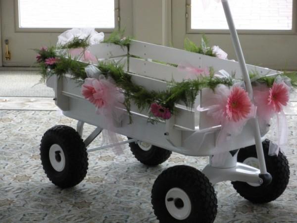 Medium Flower Girl Wedding Wagon Stained Dark or Light Brown |Flower Girl Wagon Wedding Party