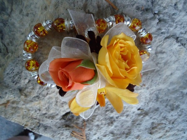 Orange & Yellow Wrist corsage