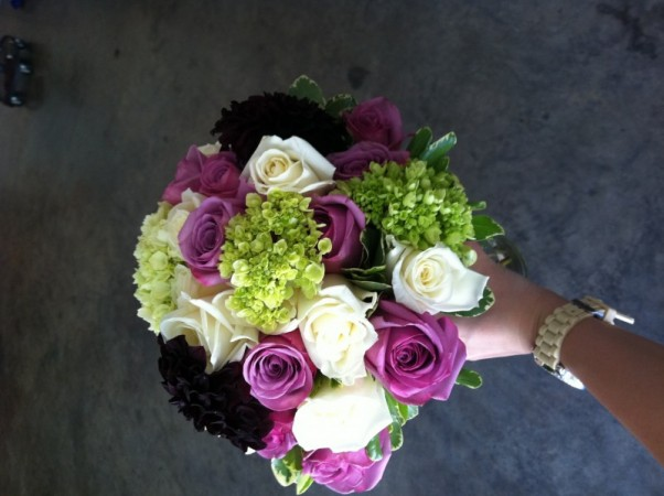 Green & Purple Bridal Bouquet