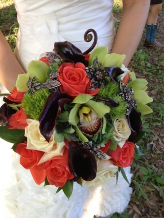 Green & Orange Bridal Bouquet