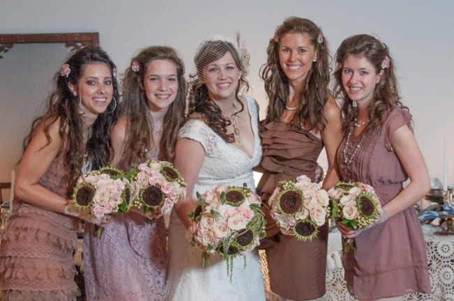 Bride, Bridesmaids & Their Wedding Flowers