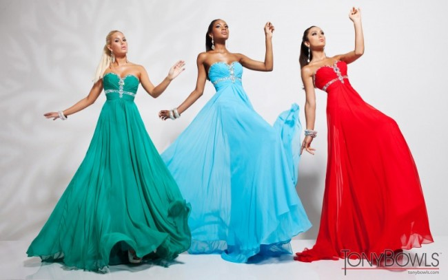 Green, Light Blue & Red Prom Dresses