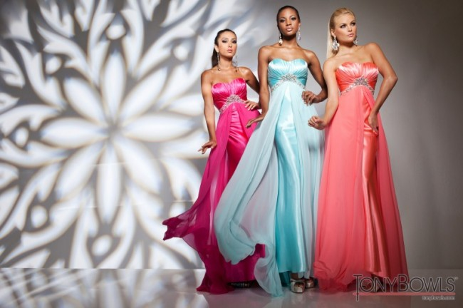 Pink, Light Blue & Coral Prom Dresses