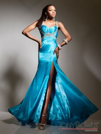 Blue Prom Dress with Embellishments