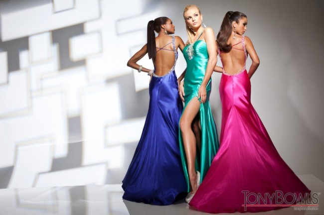 Blue, Green & Pink Prom Dresses with Low Back