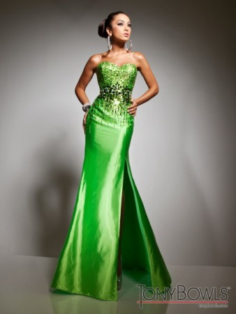 Bright Green Strapless Prom Dress