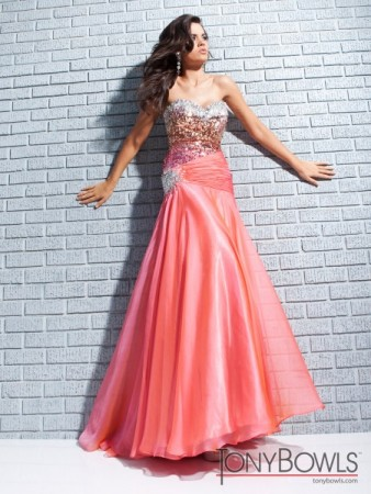 Coral Prom Dress with Beautiful Beading