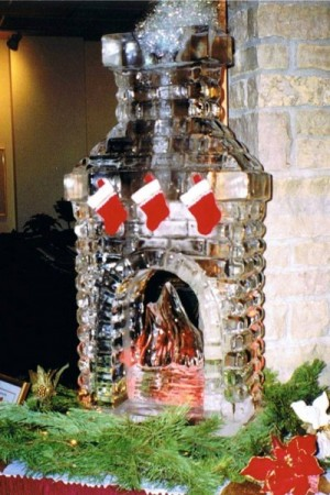 Fireplace with Stockings Ice Sculpture-Carving