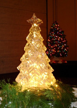 """Christmas Tree with Internal Lights"" Ice Sculpture - Carving"