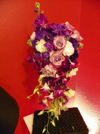 Purple and White Cascade Wedding Bouquet