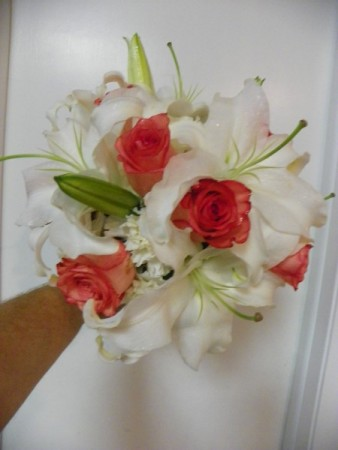 Whtie and Coral Wedding Bouquet