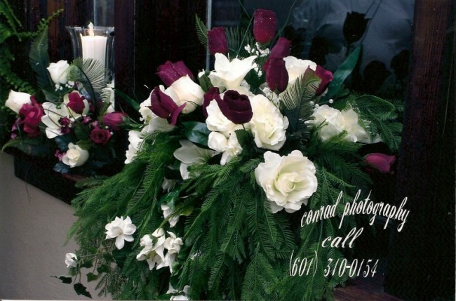 Rose Wedding Reception Flowers Share Whie and burgundy roses combined with