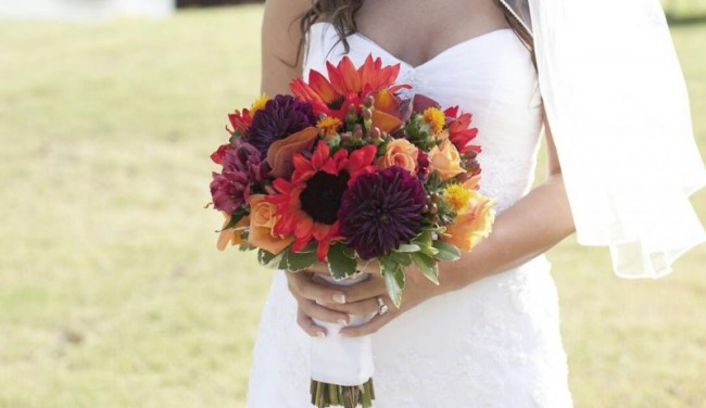 Sunflower & Rose Wedding Bouquet