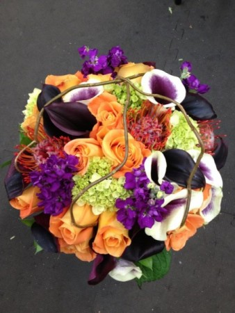 Purple, Green & Orange Bridal bouquet