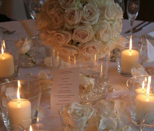 Wedding Party Photo Gallery White Roses Reception Centerpiece