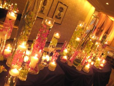 Flowers, Candles and Glass