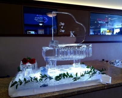 Beautiful Grand Piano with Monogram Ice Sculpture