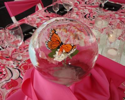 Butterfly in Ice Globe  Table Centerpiece
