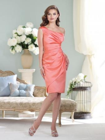 One-shoulder satin knee-length