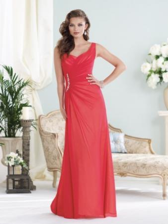 Sleeveless chiffon over satin slim
