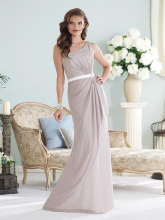 One-shoulder chiffon slim A-line gown