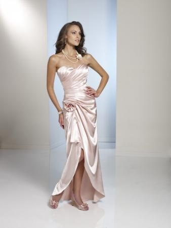 Strapless crepe back satin slim