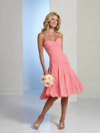 Strapless chiffon knee-length