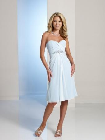 Strapless chiffon over satin knee-length