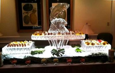 Stunning Sushi Bar with Leaping Salmon Ice Sculpture
