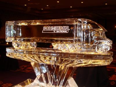 Semi Truck (Tractor-Trailer) with Logo Ice Sculpture