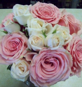 Pink & Ivory Rose Wedding Bouquet
