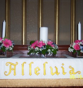 Pink Floral & White Candle Arrangement