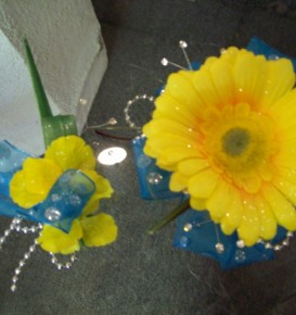 Yellow & Blue Corsage & Boutonniere
