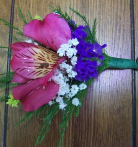 Pink, White & Puurple Boutonniere