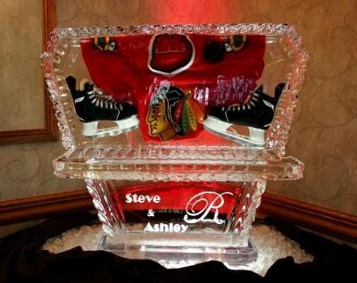 Hockey Themed Ice Carving with Monogram Base
