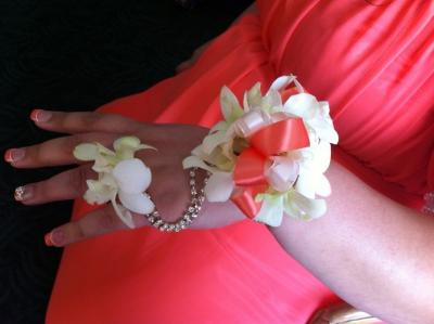 Coral And White Corsage