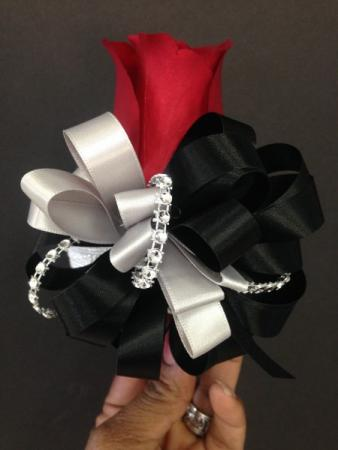 Red, Black, And Silver Corsage